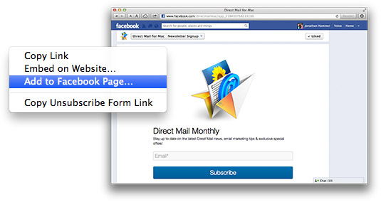 Add a subscribe form to your Facebook Page with one click!