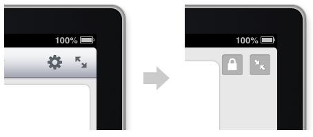 To enter Kiosk Mode, tap the full screen icon, then tap the lock icon.