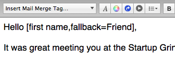 "Use the ""fallback"" feature of a mail-merge tag to provide default values when merging."