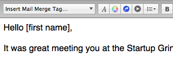 "The ""[first name]"" mail-merge tag being used in a greeting"