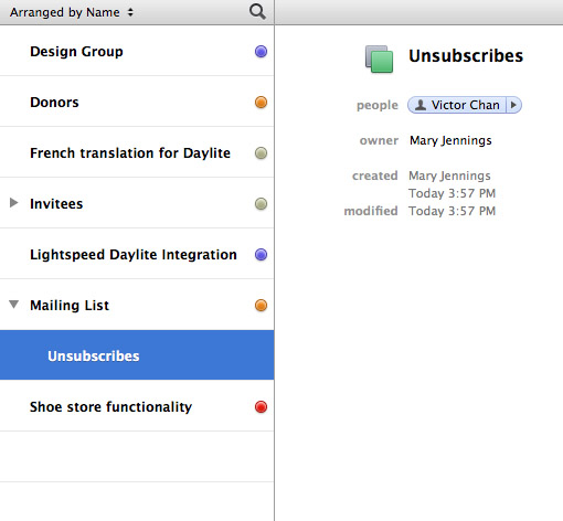 """Victor Chan now appears in the """"Unsubscribes"""" group in Daylite"""