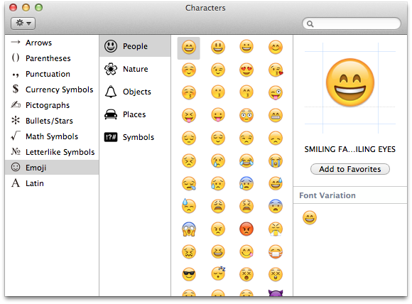 The Emoji character panel in OS X 10.7 and 10.8.