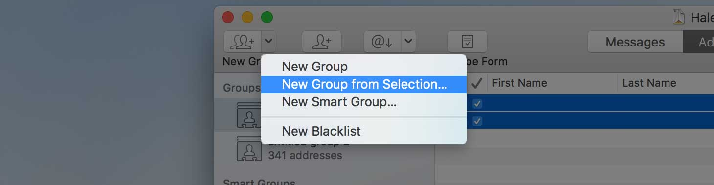 New Group from Selection menu item