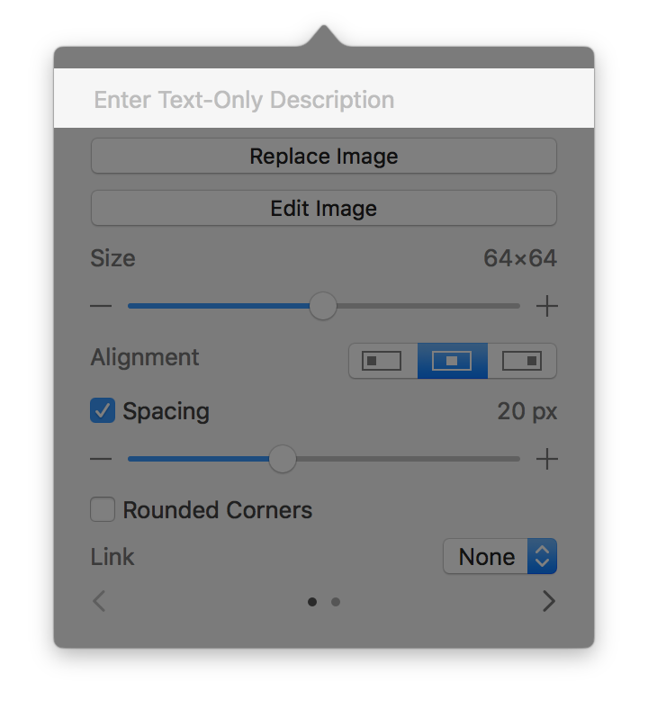 Screenshot of the image editor popover