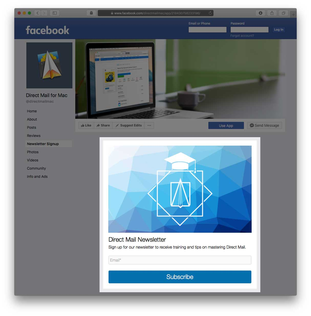 Adding a subscribe form to your Facebook Page | Direct Mail